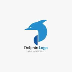 Dolphin logo and emblem design template