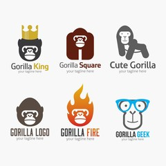 Gorilla Logo Design Template. Vector illustration with flat style
