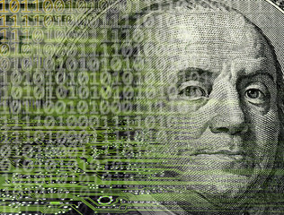 conceptual image of dollar bill and binary code