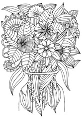 Flowers in vase for art therapy coloring book.
