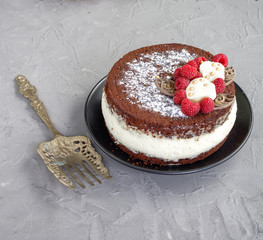 Pie with chocolate and raspberry on gray background