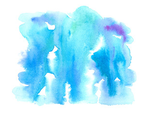 Blue watery illustration.Abstract watercolor hand drawn image.Azure splash.White background.
