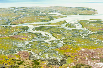 Aerial view of the Langebaan Lagoon and salt marshes