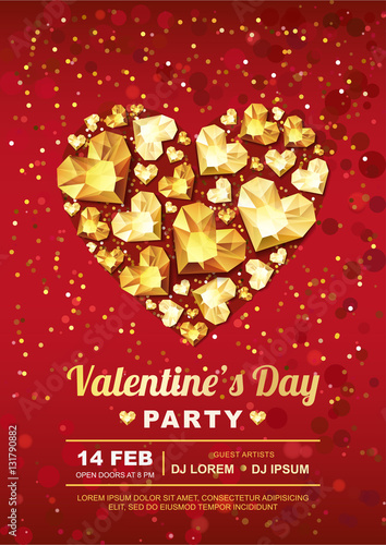 Valentines Day Party Vector Poster Design Template Gold Gem Heart