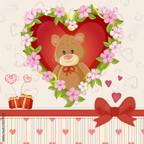 Happy Valentines day card with cute teddy bear and flower heart – Teddy Bear Valentines Day Card