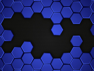 abstract blue and black background with hexagons, vector illustration