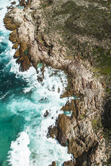 Aerial view of the rugged coastline