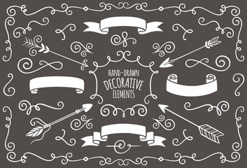 Collection of cute hand drawn vintage elements.