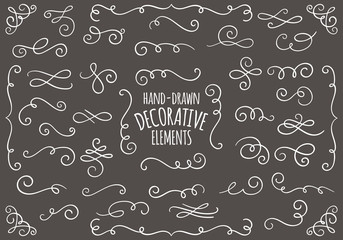 Collection of hand drawn vintage swirl ornaments.