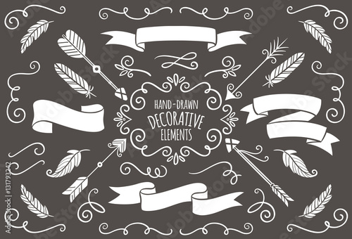 279a49cdcce18 Colección de elementos decorativos dibujados a mano.