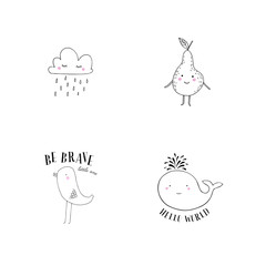 Vector illustration of cute characters: rainy cloud, smiling pear, little chick and Whale.