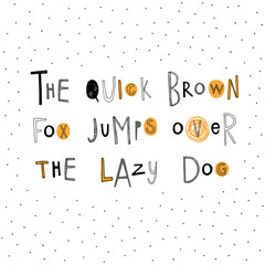 The quick brown fox jumps over the lazy dog. Hand drawn doodle abc. Cute vector alphabet.