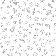An illustrated icons of different monsters in black and white. Seamless pattern.