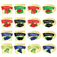 label of set fruit fresh food illustration in colorful