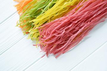 Multicolored pasta uncooked