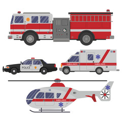 various emergency vehicles