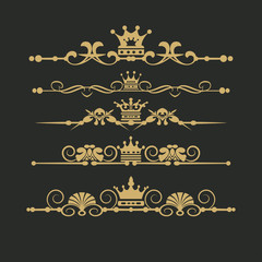 Vector set. Victorian Scrolls and crown. Decorative elements. Gold on black background