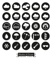 Weather and climate solid round icons set. Collection of 25 round weather icons