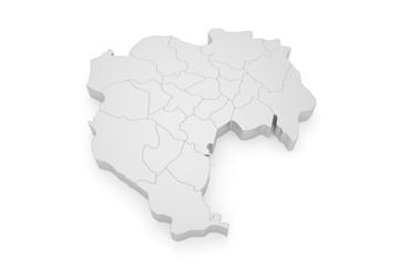 Tokio - Stadtplan - Bezirke 3D