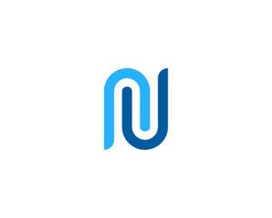 Initial Letter N Simple Line Logo Design Element