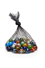 Bag of Multicolored marbles isolated