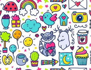 Doodles cute seamless pattern