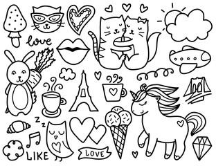 Doodles cute elements.