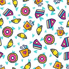 Autocollant pour porte Cartoon draw Doodles cute seamless pattern