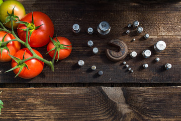 Tomatoes red to weigh on the old scale, a ripe tomato, food for sale, small business, agriculture,