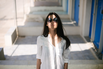 Portrait of a beautiful girl with sunglasses
