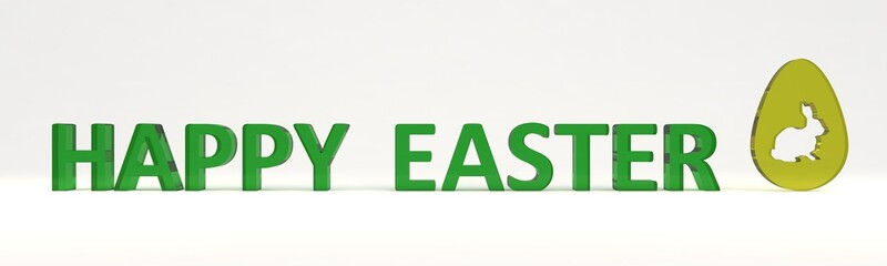 happy easter green 3d transparent words and yellow egg with cutted rabbit. isolated on white background