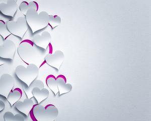 paper hearts  - 3D romantic  card / background ( love , valentine , wedding  , valentine's day )