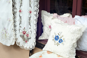 Embroidered home decor items on display in Saint Augustine, Florida