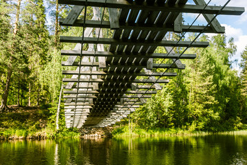 A beautiful hanging bridge in forest of Finland