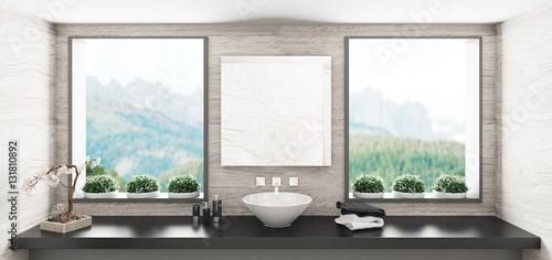 Bagno con lavandino su legno e finestre luminose con vista montagna ...