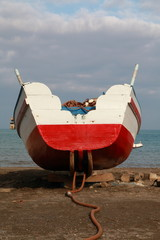 Stern of a small wooden boat