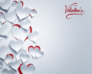 paper hearts valentine's day  - 3D romantic card / background ( love , valentine )