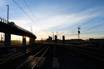 Railroad Tracks curve at Twilight in Stockholm, Sweden