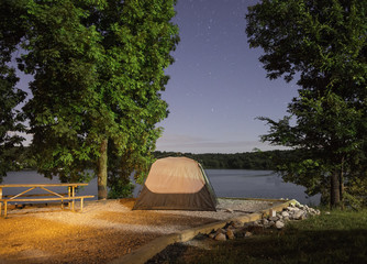Camping at Land Between the Lakes National Park in Kentucky.