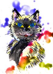 ragdoll cat - watercolor illustration