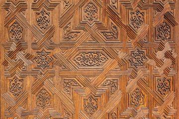 Arabic decoration background. Wood carving.
