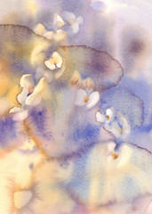 White orchids on blue watercolor