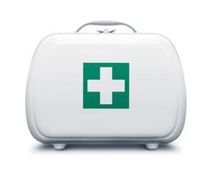 First aid kit with green cross logo on white background, frontal view