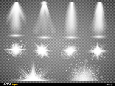 White glowing light burst explosion with transparent. Vector illustration for cool effect decoration  ray sparkles. Bright star.  shine gradient glitter,  flare. Glare texture.