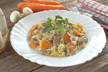 Risotto with mushrooms and vegetables in plate on table