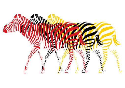 Zèbres pop art multicolores