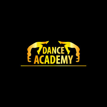 Luxury Golden Dance Academy Logo Silhouette, EPS8, Vector, Illustration