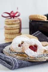 """Tasty homemade butter cookies with marmalade called """"Linzer augen"""""""