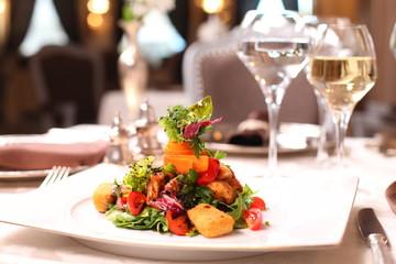 Fine dining - vegetable salad with parmesan