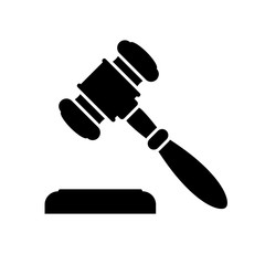 Judge gavel or auction hammer icon. Black icon isolated on white background. Judge hammer silhouette. Simple icon. Web site page and mobile app design vector element.